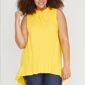 Bright yellow ruffle blouse